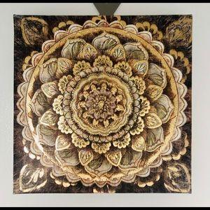 Gold & brown tones boho wall art 8x8 square